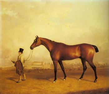 John Ferneley : Emlius, Winter of the Derby, held by a Groom at Doncaster